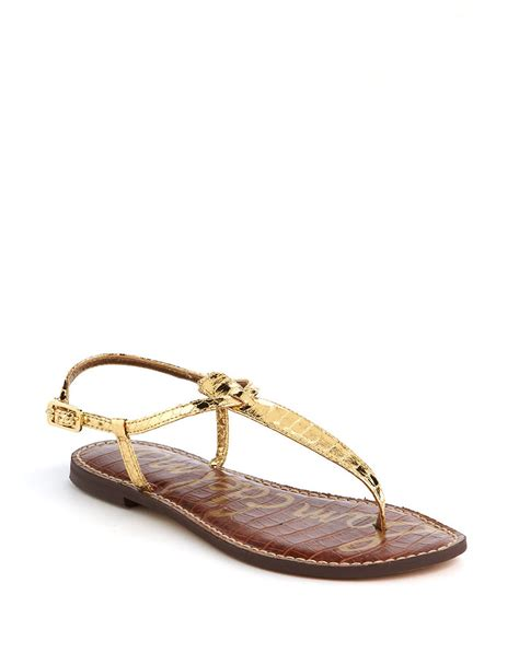 sam edelman gold sandals sam edelman gigi slide sandals in metallic gold lyst