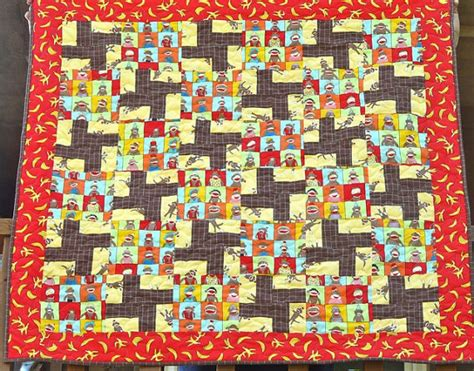 Sock Monkey Quilt by Sock Monkey Baby Boy Quilt