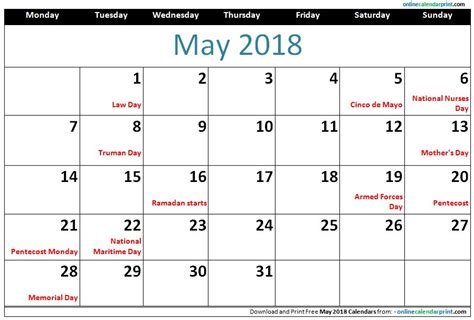 Calendar With Holidays For 2018 May 2018 Calendar With Holidays 2018 Calendar Printable