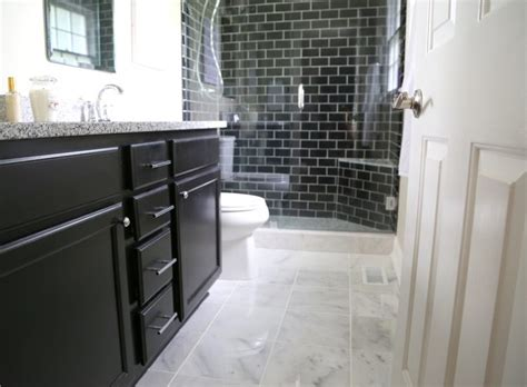 subway tile on bathroom floor 4 reasons you should use black subway tile in your bathroom