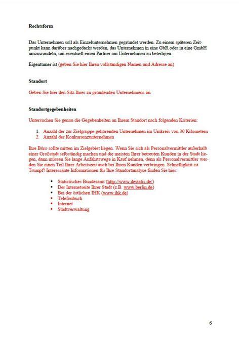 businessplan personalvermittlung vorlage zum