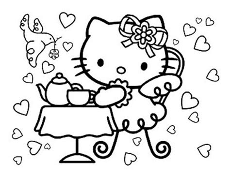 Hello Kitty Tea Party Coloring Pages | hello kitty tea party coloring page
