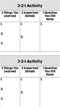 3 2 1 exit slip template exit ticket 3 2 1 activity cards by the class helper tpt