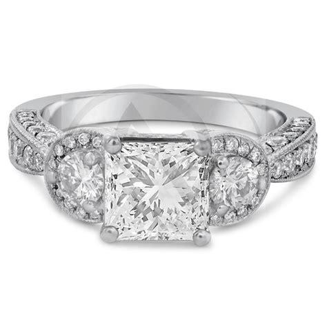 princess cut antique style pave engagement ring p24