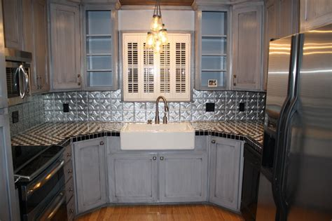 Tin Backsplash For Kitchen Tin Backsplash Kitchen Backsplashes Contemporary Kitchen Ta By American Tin Ceilings