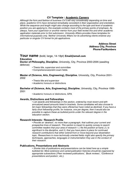 Academic Resume Sle Graduate School Resume For Graduate School Best Resumes