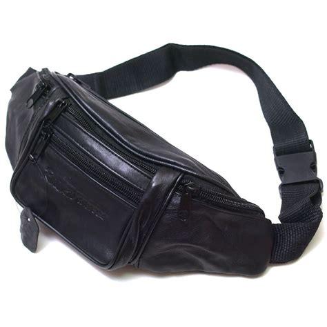 Flypower Pouch Bag Black black leather waist pack belt bag pouch travel hip
