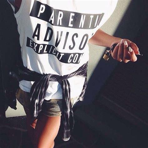 Tumbl T T Shirt Kaos Parental Advisory shirt vest belts top tank top t shirt shorts denim sweats sweatshirt joggers joggers