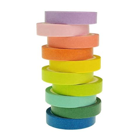 garoff rainbow pastel bright washi set 10x