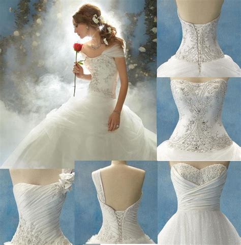 one shoulder disney princess wedding dress with corset   Sang Maestro