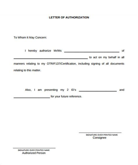 Authorization Letter For Car Exle Of Authorization Letter 7 In Word Pdf