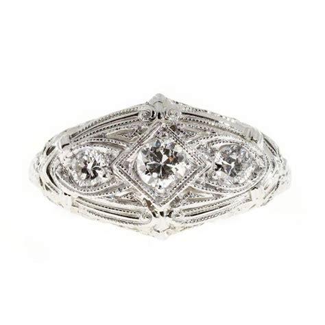 deco gold engagement rings deco three filigree platinum gold