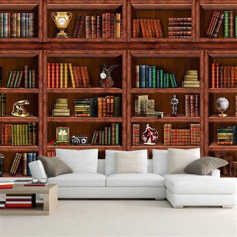 living room bookshelf aliexpress com buy custom any size 3d wall mural