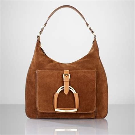 Dkny Equestrian Hobo by Ralph Suede Stirrup Hobo In Brown Snuff Lyst