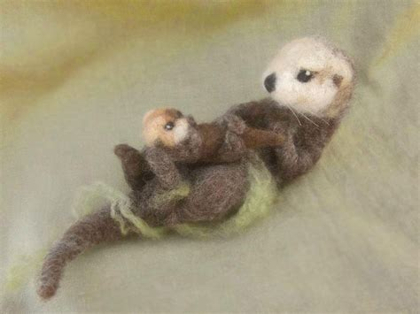felt otter pattern needle felted sea otter and pup by ainigmati on etsy this