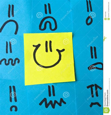 Animal Smiley Sticky Notes Post Its Penanda Dokumen Dan Memo different emotions on post its stock photography image 24537562