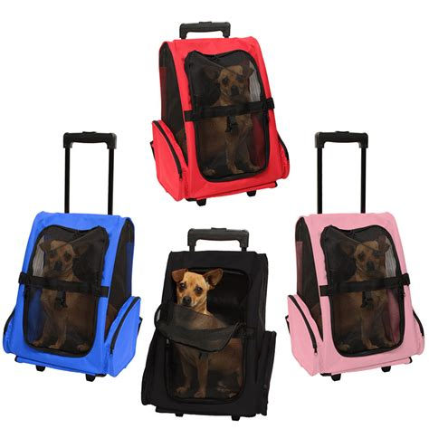 puppy travelers pet carrier cat rolling back pack travel airline wheel luggage bag pouch ebay