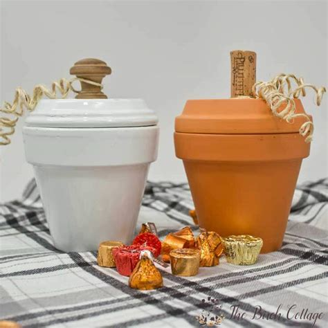pumpkin candy dishes  terra cotta pots