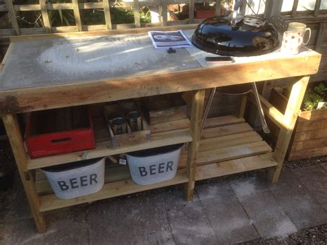 Handmade Grill - handmade bbq table with weber kettle barbeque tuin