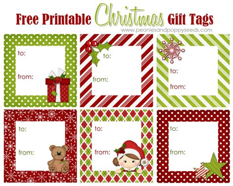 printable christmas gift tags to make peonies and poppyseeds