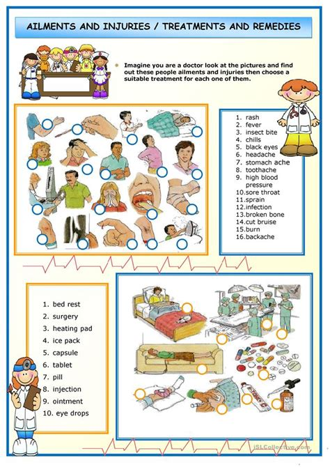 printable degree ailments and injuries worksheet free esl printable