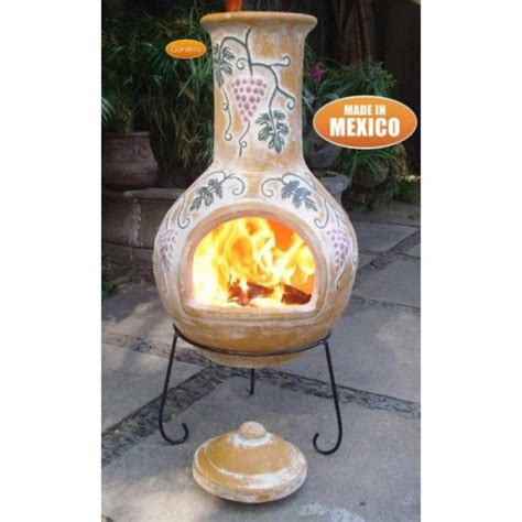 Make Your Own Chiminea Buy Gardeco Grapes Large Mexican Clay Chiminea Yellow