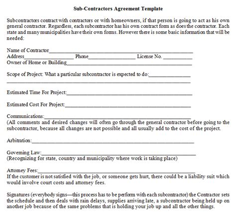 template for contractor agreement sub contractors agreement template dotxes