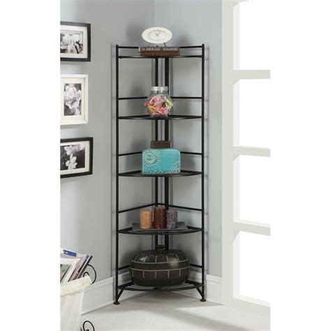 5 Tier Folding Metal Corner Shelf   Black   8021B