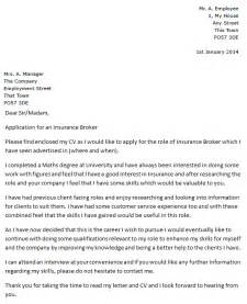 cover letter for insurance insurance broker cover letter exle icover org uk