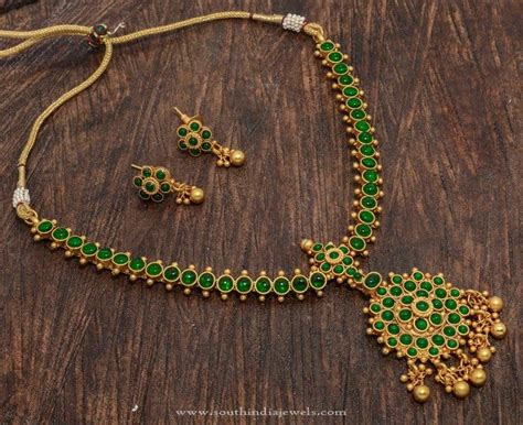 Gemstone Jewelry Design Ideas by One Gram Gold Plated Green Necklace Necklace Designs Green And