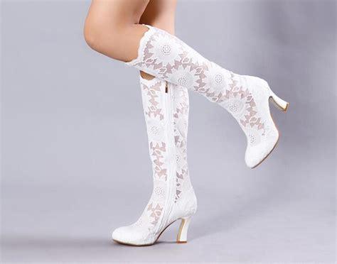 Hochzeits Stiefeletten by Wedding Shoes New Fashion 7 5cm High Heels White Sheer