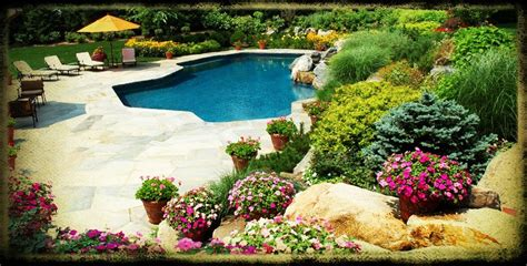 landscaping around pools landscaping ideas for backyard with hut homefurniture org