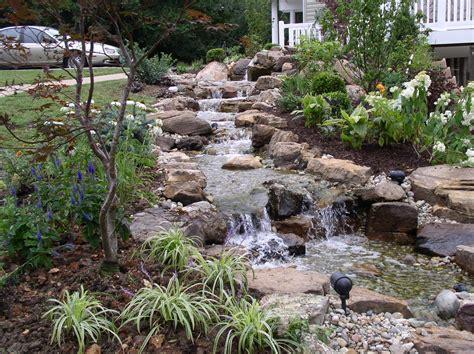 backyard waterfall pictures backyard waterfalls stream flowing away from