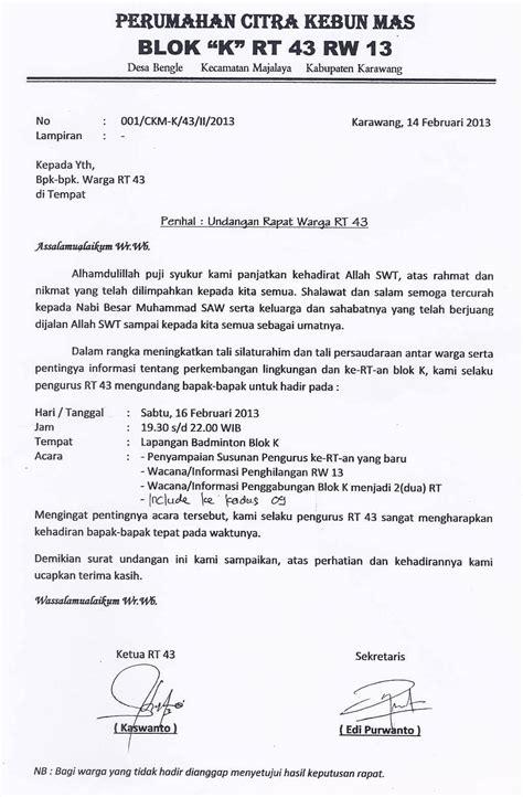 contoh surat undangan rapat resmi organisasi contohsuratmu