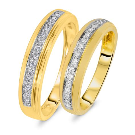 1 3 carat t w matching wedding rings set 14k