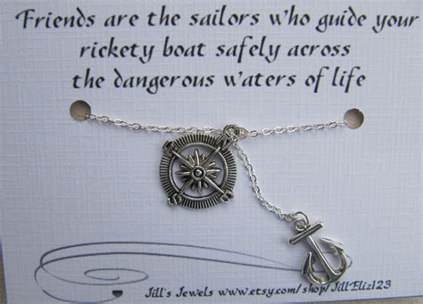 Best Friend Anchor and Compass Charm Necklace by JillsJewels4You