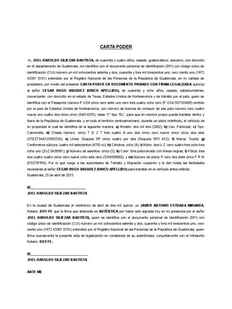 CARTA PODER Autorización Vehículo | Guatemala | Vehículos
