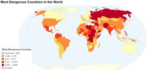 in the world most dangerous countries in the world maps