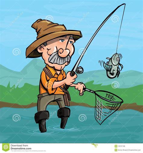 cartoon fisherman catching a fish royalty free stock image
