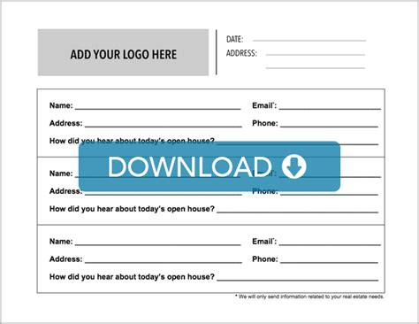 prospect card template real estate open house sign in sheet free template