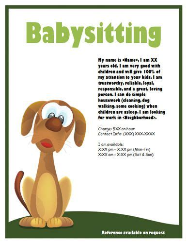 babysitting flyer template puppy or dogsitter flyer babysitting flyer