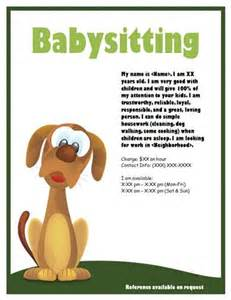 babysitting template puppy or dogsitter flyer babysitting flyer