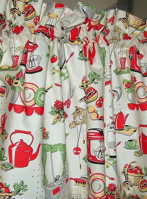 Retro Kitchen Curtains And Valances Valance Cotton 40 X 14 Retro Kitchen Stove Print Window Treatment Valance