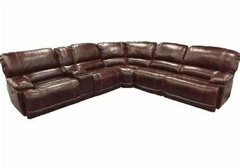 Real Leather Sectionals by Chateau Bordeaux Genuine Leather 6pc Power Reclining