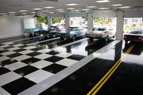 inside garage lighting ideas modern black and white ceramic floor for retro garage