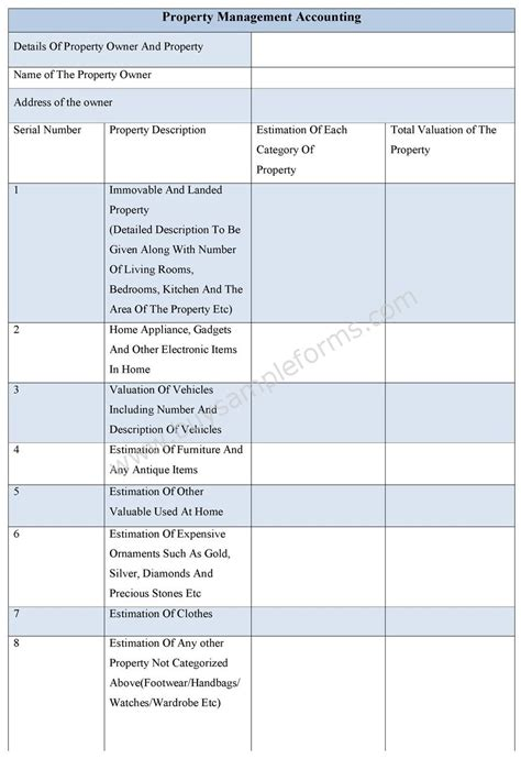 accounting form property management accounting form