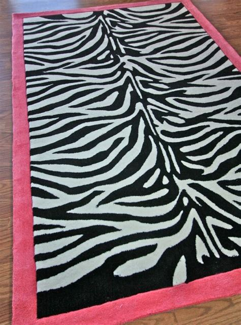 zebra print rug with pink trim pink and black rugs rugs ideas