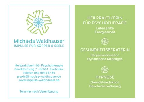 Visitenkarten Heilpraktiker by Grafik K 252 Hn Psychotherapie