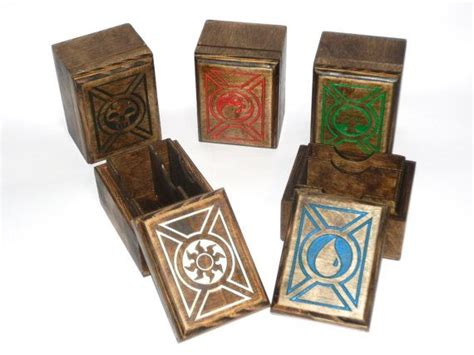 how to make a card deck box set of 5 mana symbol carved deck box card mtg by