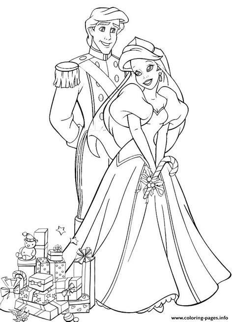 ariel wedding coloring pages ariel and eric with wedding gifts disney princess s64c7